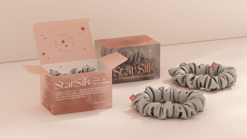 starsilk svilene gumice za kosu silver stardust